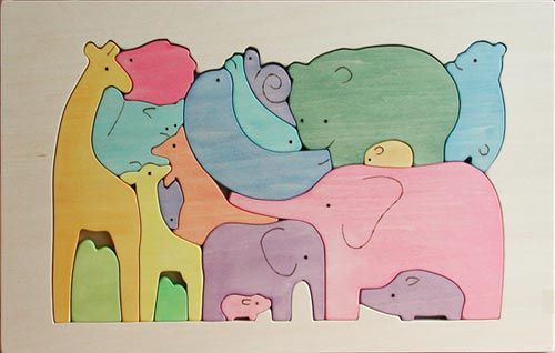Wood puzzle elephant giraffe modern | Wooden Puzzle / Animal Family