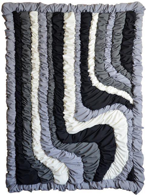 AtelierMD: Wandkleed Against the flow  ©2013 Formaat 235 cm bij 180 cm, 8 cm dik  Terlenka, wasbaar.  Brandvertragend geïmpregneerd met certificaat. Prijs op aanvraag.