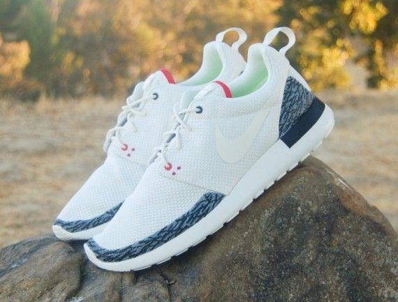 "Nike Roshe Run ""Air Jordan 3"" True Blue and White / Cement by JP Customs (4)"