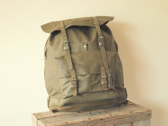 Swiss army Backpack Rucksack Rubber Leather by FlapaWheelyVintage