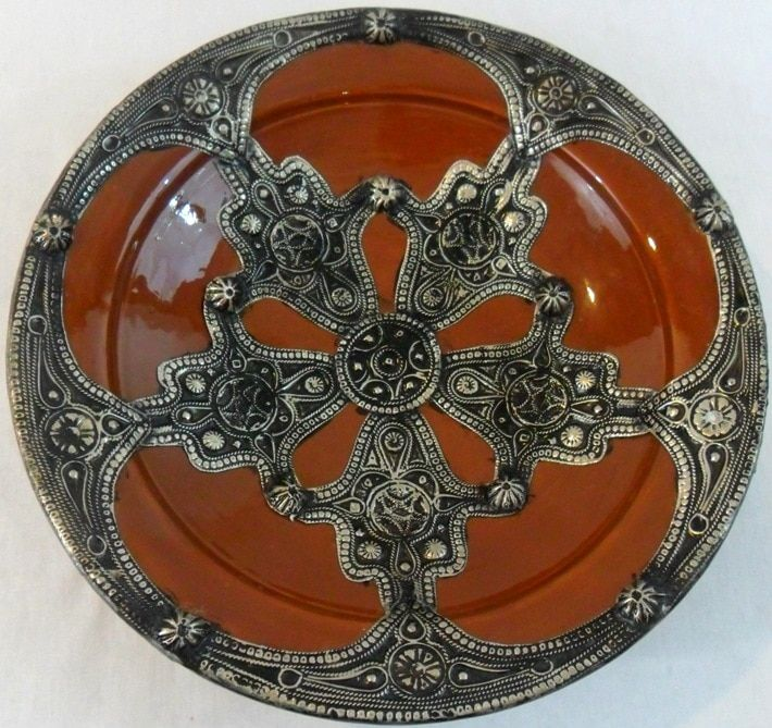 Mediterranean Imported Majestique Ceramic-and-Metal Decorative Plate
