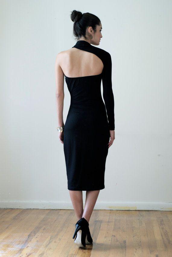 Black Dress / One Shoulder Pencil Dress / Midi by marcellamoda