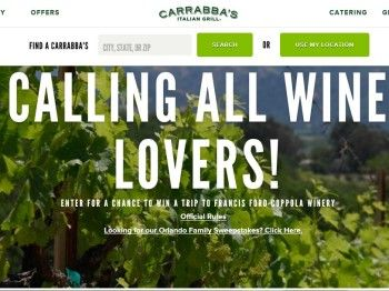 """The Carrabba's """"Winery Vacation"""" Sweepstakes – Select States"""
