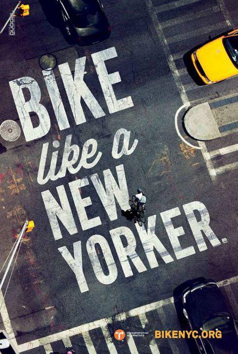 サイクルロード ~自転車への道/現場で展開される宣伝コピー| 道路標示: ニューヨーク: Citi-Bike: BikeNYC: Bike-like-a-new-yorker: