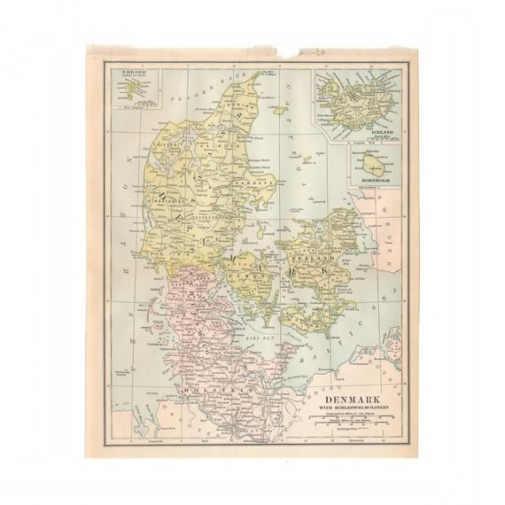 Vintage Map Of Denmark From 1902 Disbound Book The University Encyclopedia Free Us Shipping Vintage Map Denmark Map Map