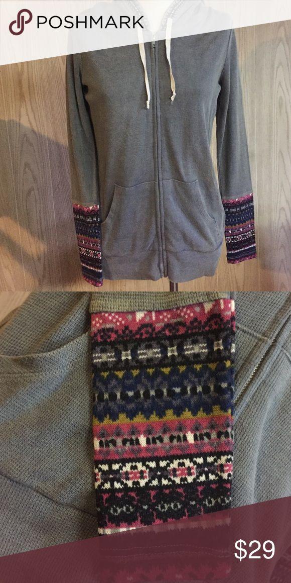 New OTHERS FOLLOW Gray Thermal Hoodie Knit Cuffs New OTHERS FOLLOW Gray Thermal Hoodie Knit Cuff Sleeves Tops Sweatshirts & Hoodies