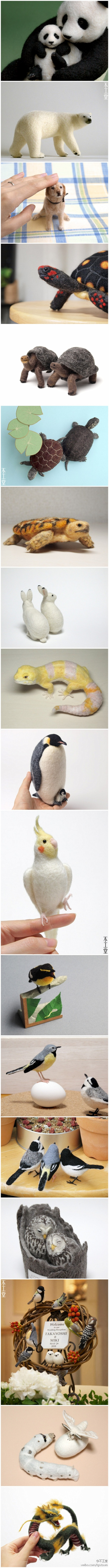 Panda, bear, turtle, dog, rabbit, lizard, penguin, bird, owl, moth, caterpillar, dragon - look at these from Naito beauty is realistic style animal work