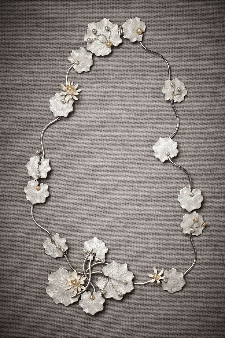 "Necklace | Debra Moreland. ""Lily Pad""  Rhodium plated brass, ivory, white glass pearls"