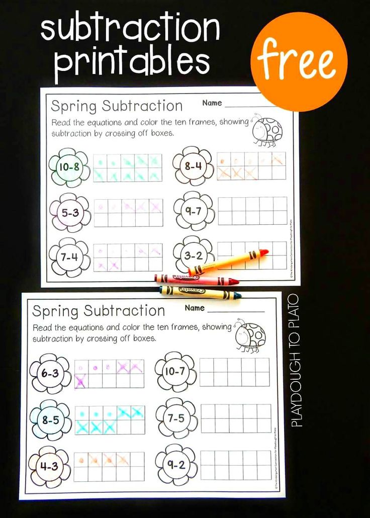Free Spring Ten Frame Subtraction Sheets. Great math center or subtraction activity for kindergarten!