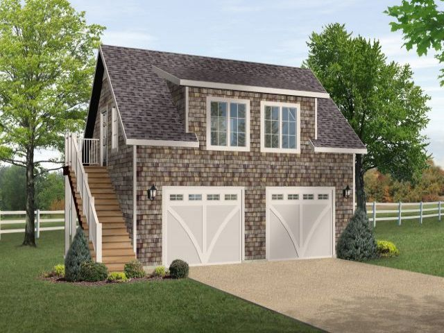 One bedroom garage apartment over two car garage plan for Garage plans with apartment on top
