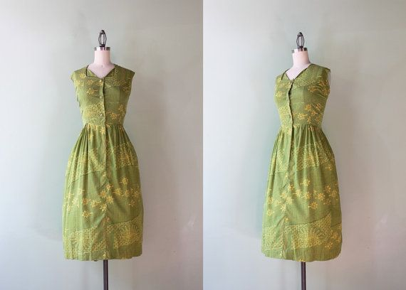 1960s Green Batik Dress / Vintage 50s 60s B.H. by HolliePoint
