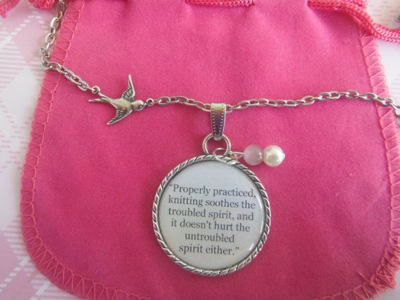 Knitting Quote Quote In A Necklace Pendant by TheSmileEmporium, $23.00
