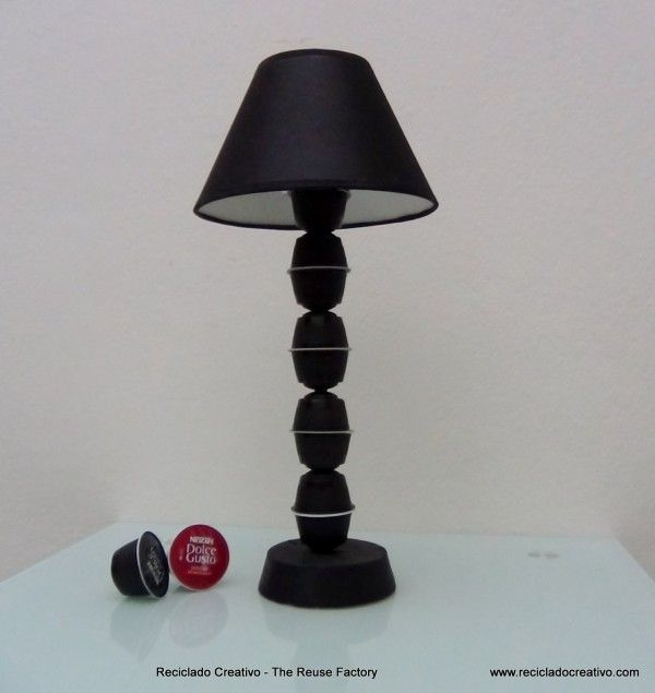 Upcycled Coffee Capsules Lamp in lights diy  with recycling Lamp DIY Decoration Coffee Caps