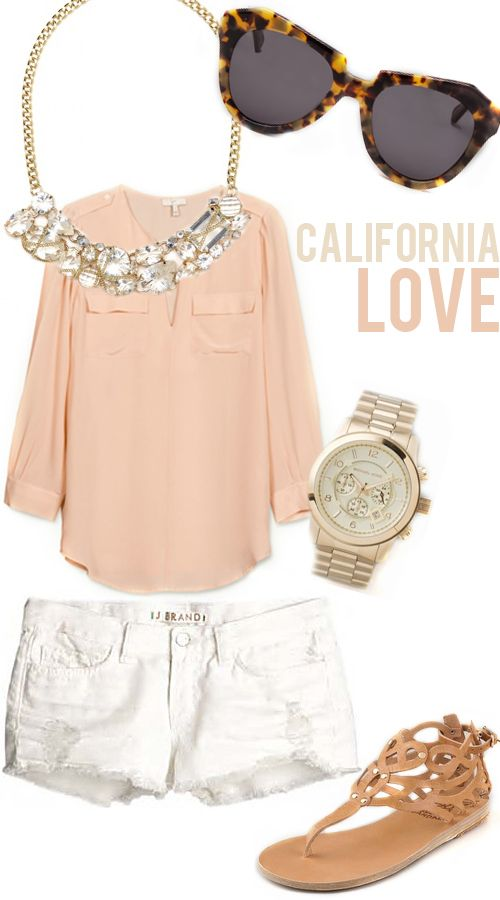 blush and bling: Baubles Bar, White Shorts, Summer Outfit, California Outfit, Bar Necklaces, Pale Pink, Greek Sandals, Michael Kors Watches, Karen Walker Sunglasses
