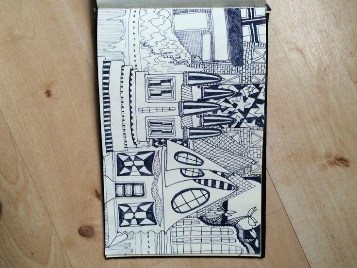 Huizen tekenen met vulpen