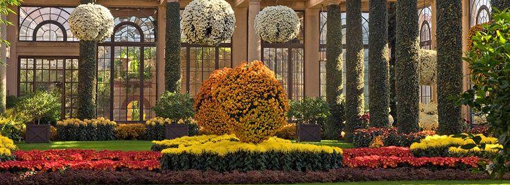 Visite los mundialmente reconocidos jardines con complejos sistemas de fuentes y obras maestras arquitectónicas en Longwood en Pensilvania.