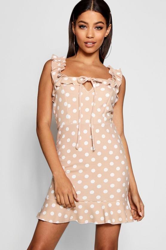 26322f2dbc Tonal Polka Dot Frill Strap Detail Shift Dress