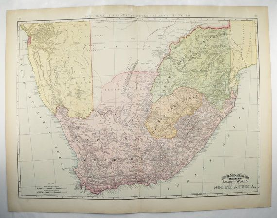 Large South Africa Map 1898 Vintage Map of Africa, African Decor Cape Colony Map, 1st Anniversary Gift for Her, Vacation Gift for Family available from OldMapsandPrints.Etsy.com #SouthAfrica #LargeSouthAfricaMap #CapeofGoodHope