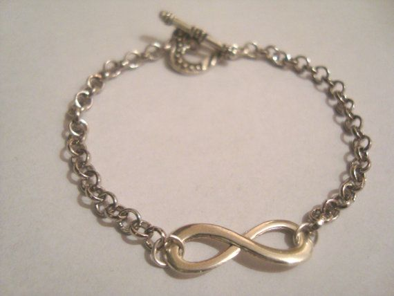 Silver Infinity Bracelet with Sliver chain Chain by BiancasArt
