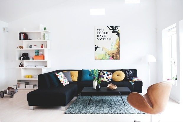 bright white + black couch