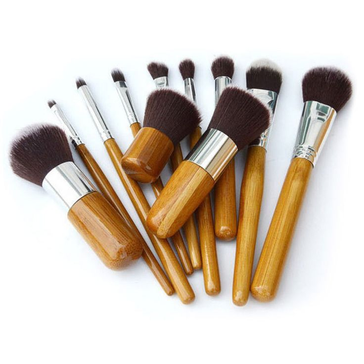 Bamboo Handle Makeup Cosmetic Brushes Foundation Brush Set