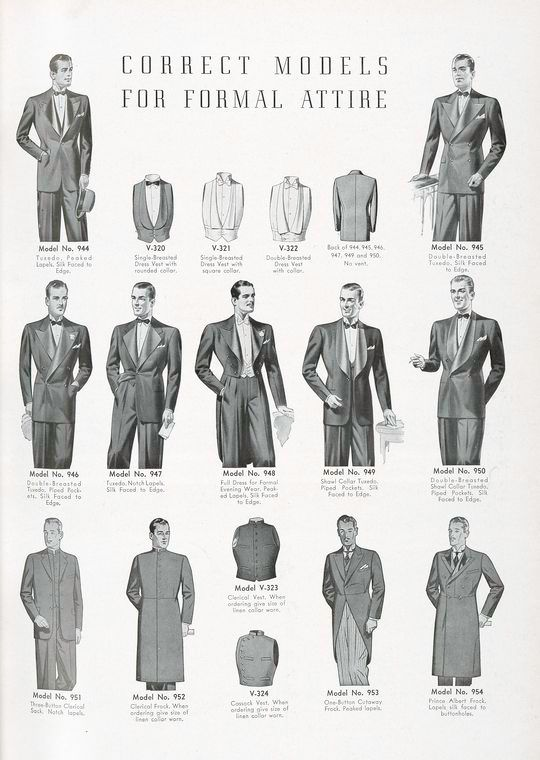 Correct Models for formal attire - tuxedo, dress vest, full dress, clerical sack, clerical frock, clerical vest, cassock vest, cutaway frock...