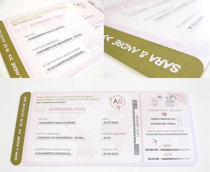 Boarding pass wedding invitation www.inlove.pt
