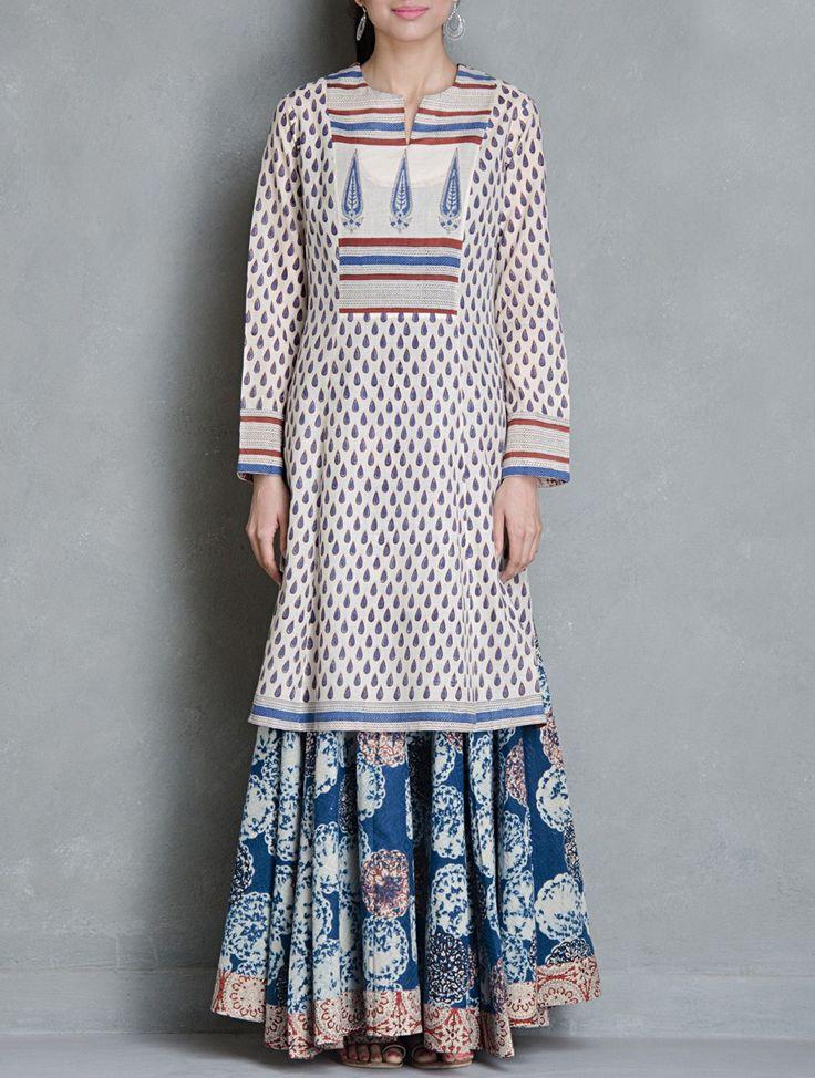 Buy Beige Blue Red Block Printed Cotton Kurta by Raiman Sethi Apparel Tunics & Kurtas Kanjari Collection Hand Vegetable Dyed Dresses Shirts More Online at Jaypore.com