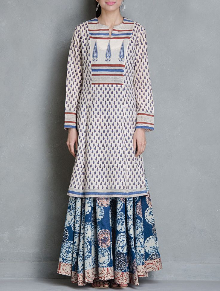 Buy Beige Blue Red Block Printed Cotton Kurta by Raiman Sethi Apparel Tunics & Kurtas Kanjari Collection Hand Vegetable Dyed Dresses Shirts More Online at Jaypore.com