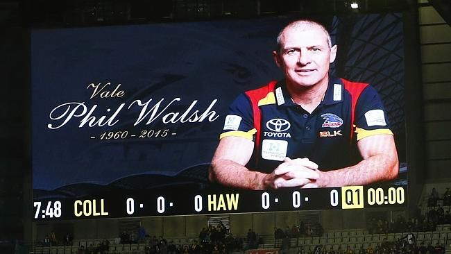 Phil Walsh - Adelaide Crows Football Club Coach who was murdered today is remembered at the MCG. (March 15 1960 - July 3 2015) Picture: Michael Klein