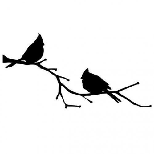 family of cardinal birds perching for winter stencil  wall