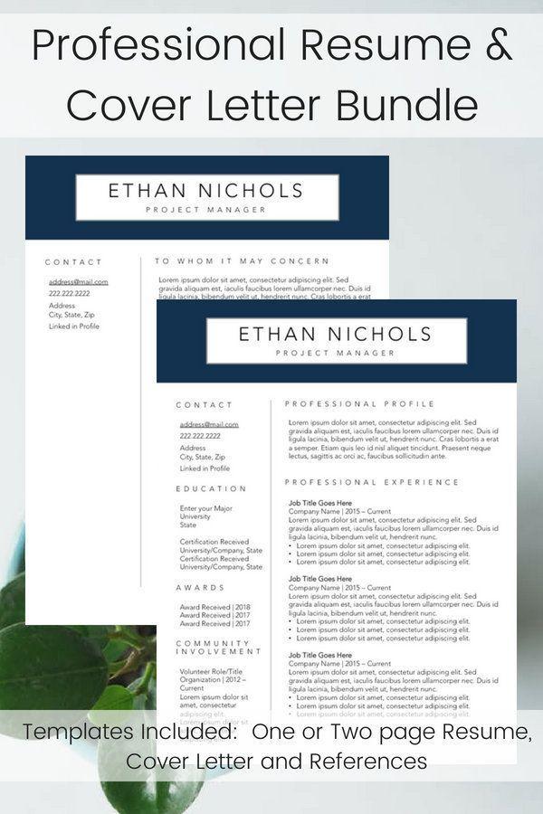 Professional Resume Template Men S Resume Builder Navy Etsy Resume Template Professional Professional Resume Resume Layout