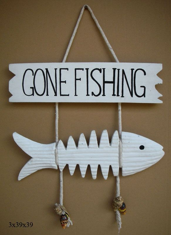 Great gift for dad....GONE FISHING sign fisherman s Tropical Wall Decor Beach House Sea Theme shells