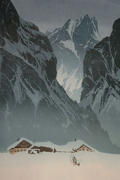✨ Oscar Droege (1898-1983) - Häusergruppe vor Bergmassiv I, Farb-Holzschnitt ::: Group of Houses in Front of Mountain Massif I, Colour Woodcut