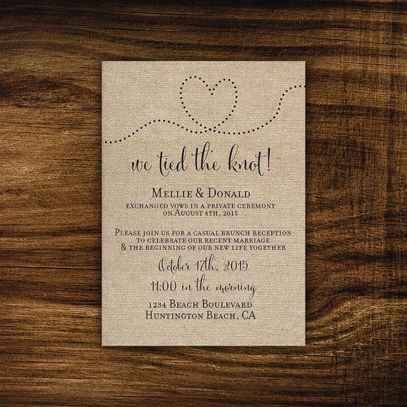 Printable elopement reception invitation - wedding reception - we tied the knot, we got hitched, we eloped, elopement announcement