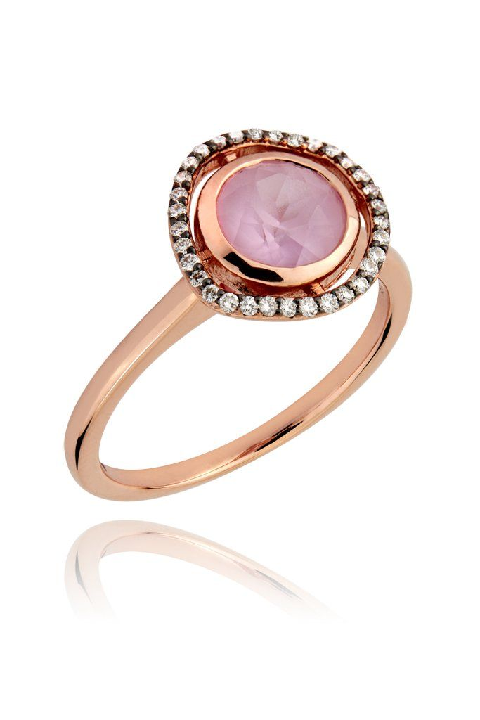 Dark Halo Sapphire Ring In Solid 14k Rose Gold J 1 2 Us 5 Cultured Diamonds Alternative Engagement Rings Sapphire Ring