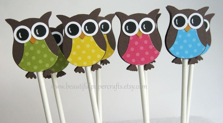 Owl Cupcake Toppers- Owl Birthday Party Decorations - Owl Party Decorations ..set of 12. $10.50, via Etsy.