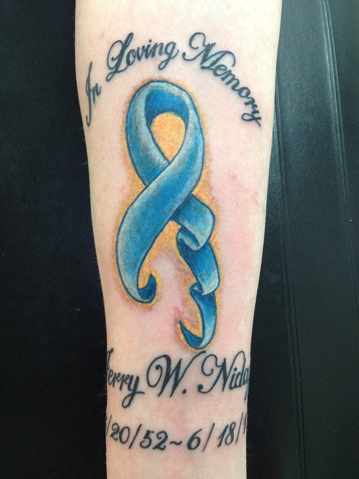 My tattoo down my right forearm for my dad who lost his for Colon cancer tattoos