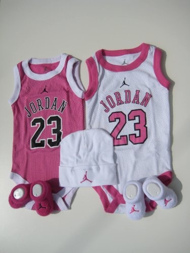 "Nike Jordan Infant New Born Baby Girl; 2 Vest Bodysuit, 2 pair Booties and Cap; 0-6 Months; Pink/White; With ""JORDAN 23"" Sign 5 PCS One Set New $50.99"