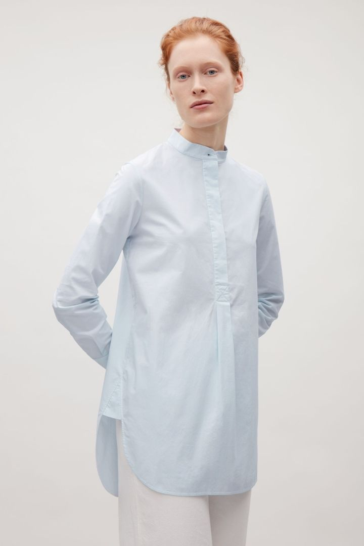 COS image 2 of Long grandad collar shirt in Powder Blue
