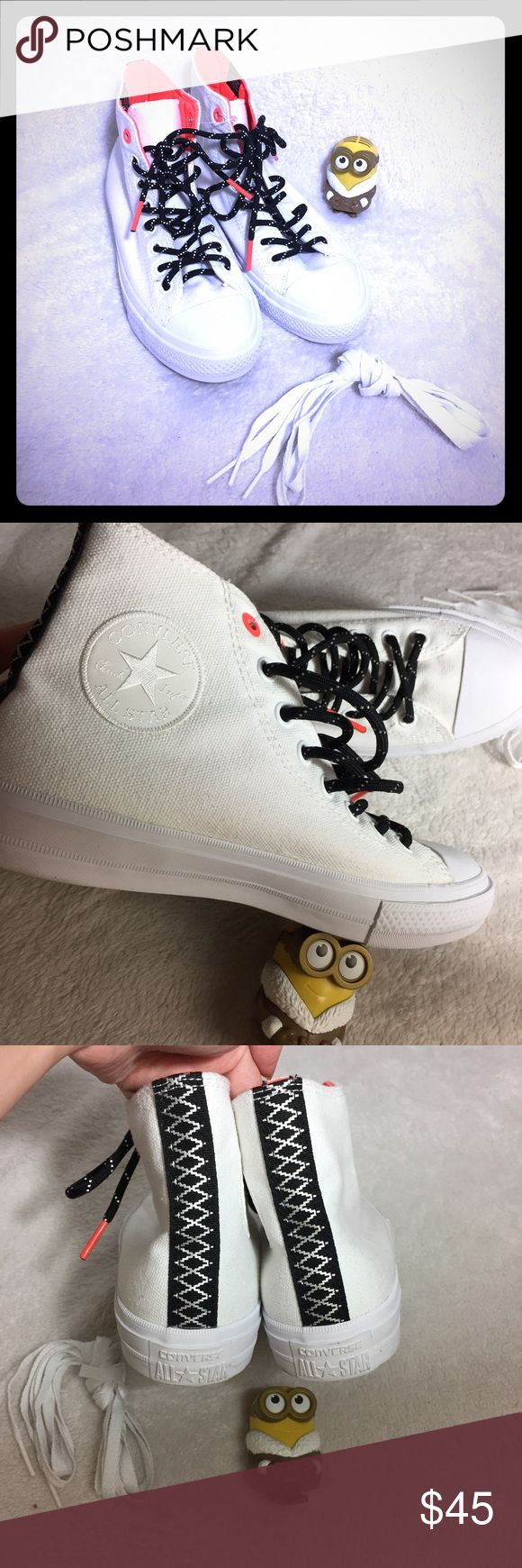CONVERSE CHUCK TAYLOR ALL STAR II HIGH TOP SNEAKER Brand new without Box CONVERSE CHUCK TAYLOR ALL STAR II HIGH TOP SNEAKER  Color:  White/ Lava/ Gum  Size:  7 M Big Kid/Youth(women's 9)  Retail: $65+tax  ✅Price firm UNLESS bundled ❌NO trade ❌Lowball Offer Will be IGNORED&BLOCKED ⚡️Serious Buyer ONLY!NO DRAMA ⭐️Same/next day shipping ⚠I video record all sales from packing to shipping so we are both protected Converse Shoes Sneakers