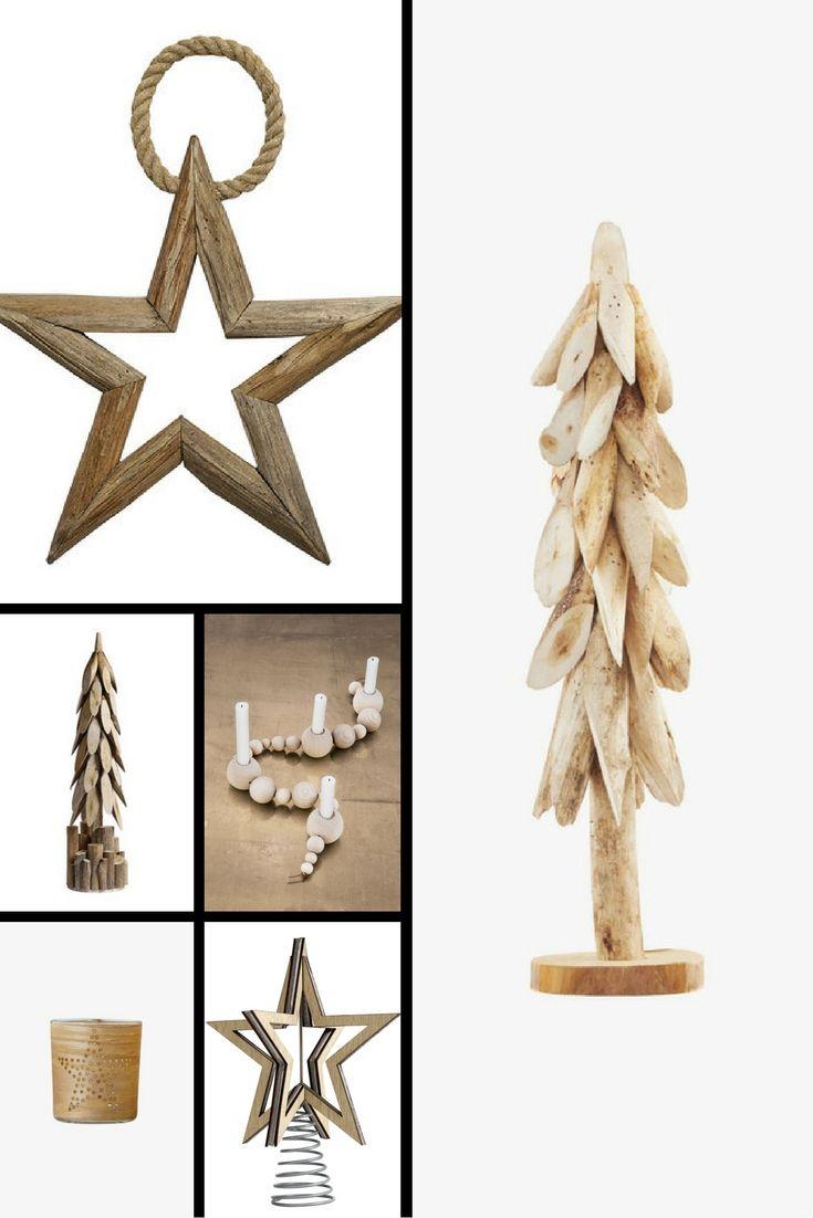 Scandinavische kerstaccessoires van hout.