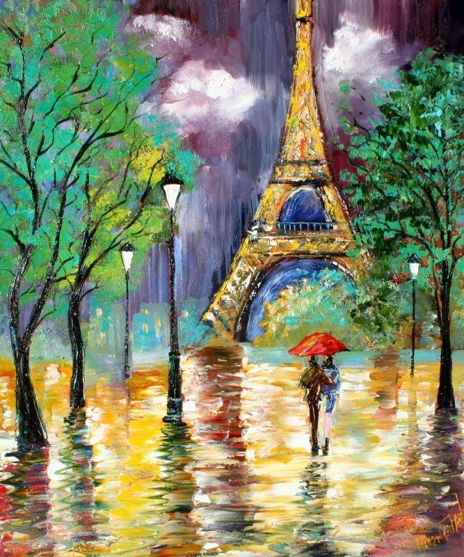 Red Umbrella in Paris Rain--for court to paint :-)