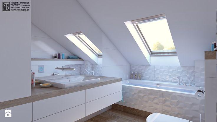 łazienka biała - Średnia łazienka na poddaszu w domu jednorodzinnym z oknem, styl nowoczesny - zdjęcie od APP TRENDY Autorska Pracownia Projektowa