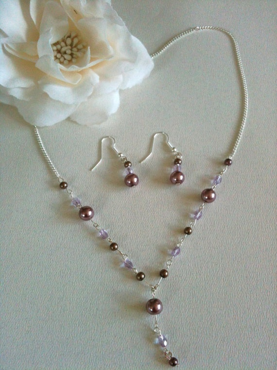 Delicate rose simulated pearls and lilac glass by Jdljewels, £10.00