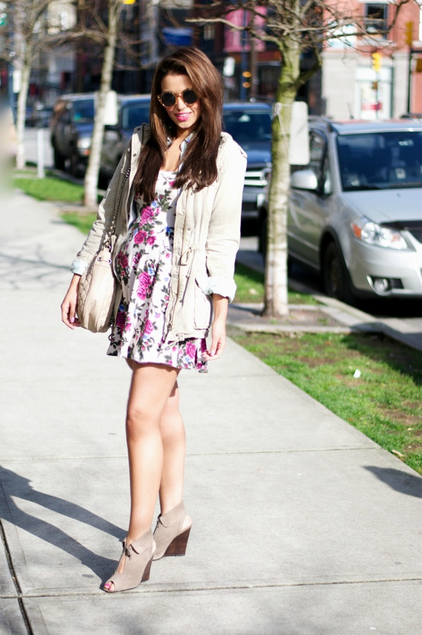 Floral Dress, Zara Handbag, Aritzia Jacket, Chambray Skirt, Sunglasses, Booties, Spring Fashion