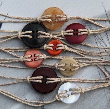 Button bracelets---I have a ton of leftover buttons and jute laying around! Could totally do these!