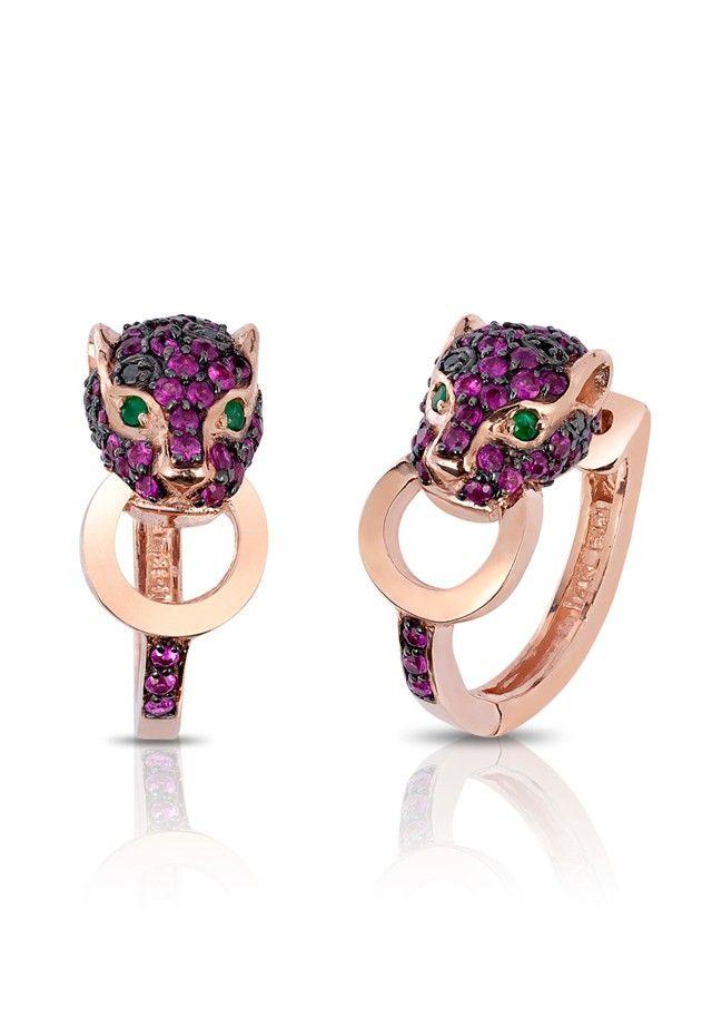 Signature Ruby, Black Diamond and Emerald Earrings