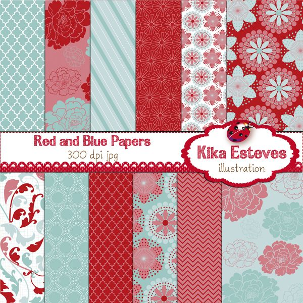 "Red and Light Blue Papers - Digital Clipart    12 High Resolution 300dpi JPEG papers  Each digital clipart image size is: 12"" x 12""     You can use them for: embroidery, scrabooking, photograph, background, card design, invitations, stickers, jewelry, paper crafts, web design, and a lot more."