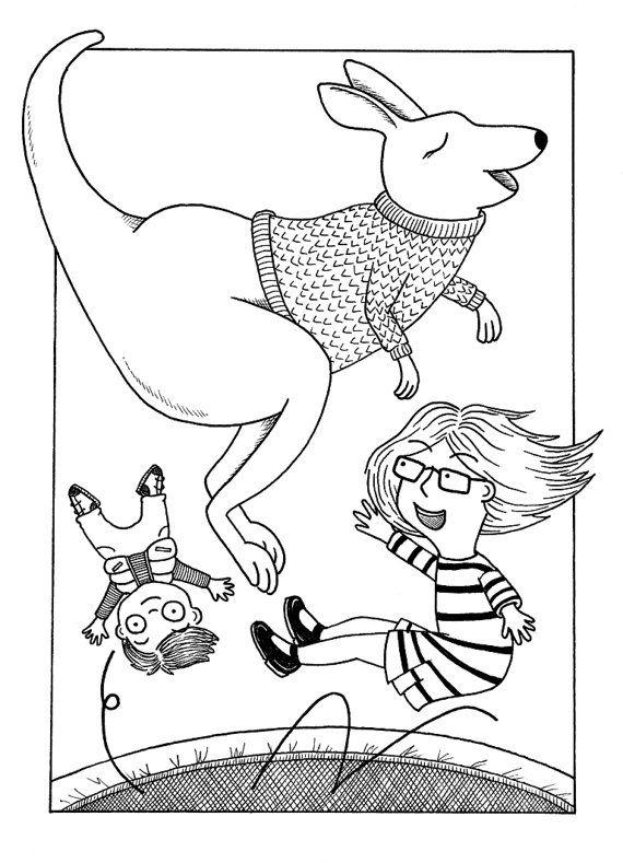 Bouncing Kangaroo - Trampoline Illustration - Giclée A4 Archival Print